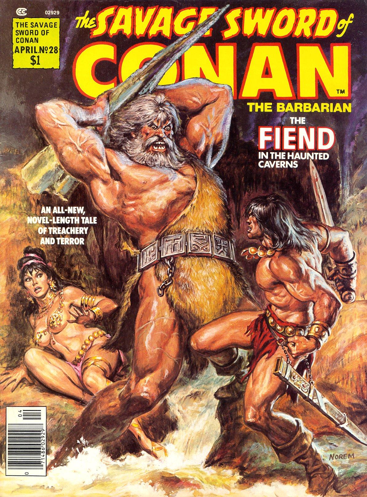 The Savage Swoed of Conan #28 publicada em 1978, uma das muitas capas produzidas por Earl Noren para o personagem criado por Robert E. Howard